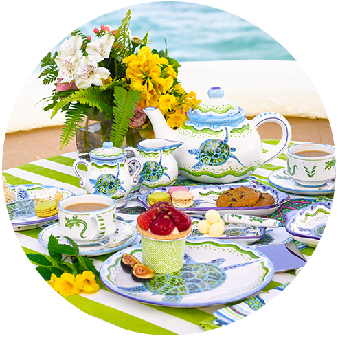 tropical hand-painted tableware