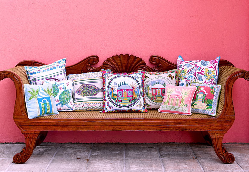 bench with tropical pillows