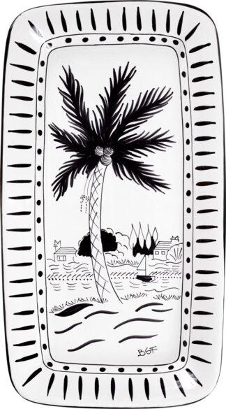 Sunset Dinghy Rectangle Platter (Black & White)
