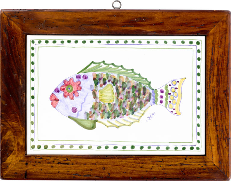 Parrot Fish Wood Framed Tile