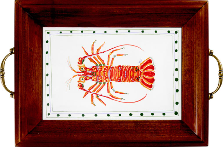 Lobster Brass Handle Tray