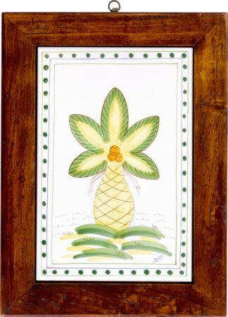 Palm Tree Wood Framed Tile