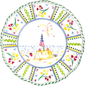 Fourth of July Scalloped Plate