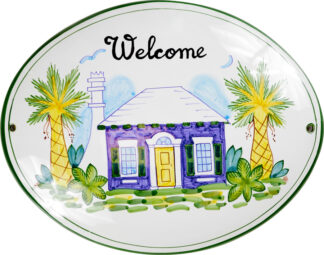 Blue Cottage Welcome Sign