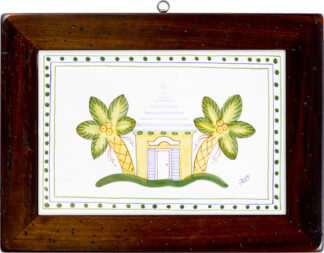 Palm Tree Wood Framed Tile