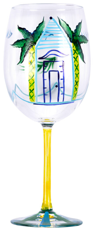 Yellow Hibiscus Wine Glass