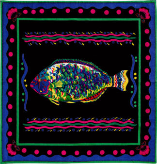 Black Parrot Fish Napkin