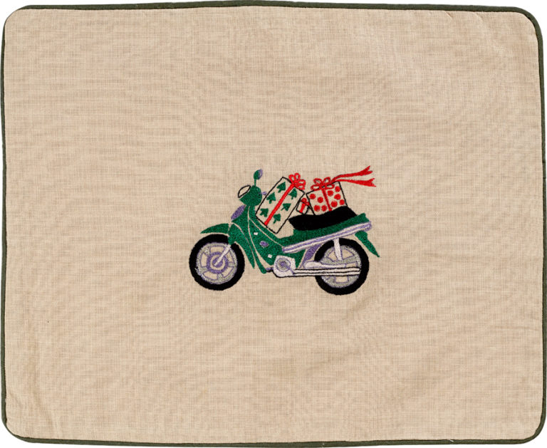 Christmas Green Scooter Pillow Cover