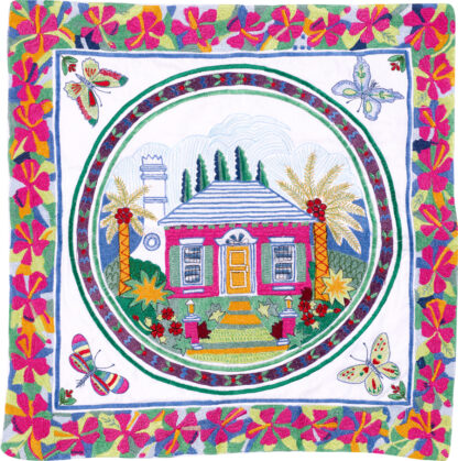 Bermuda Cottage Embroidered Pillow Cover