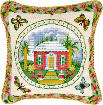 Bermuda Cottage Needlepoint Pillow Cover Small
