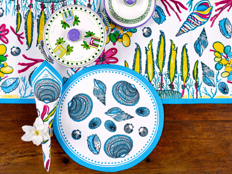 Round Blue Shells Placemat