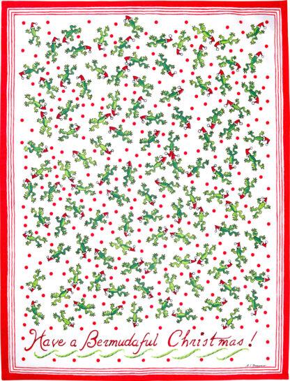 Christmas Tree Frog Tea Towel