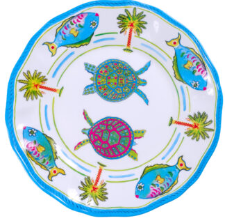 Melamine Blue Turtle Dinner Plate