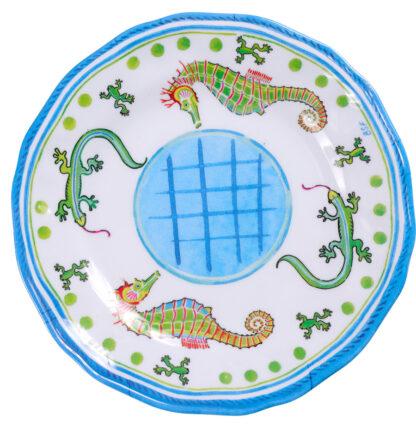 Melamine Blue Seahorse Salad Plate