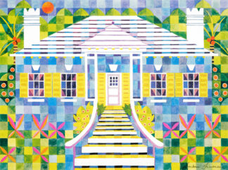 Blue Cottage Quilted Print