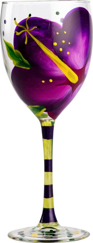 Purple Hibiscus Wine Glass