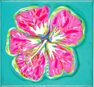 Hibiscus Canvas Print - Pink on Turquoise
