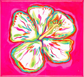 Hibiscus Canvas Print - White on Pink