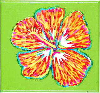 Hibiscus Canvas Print - Orange on Lime