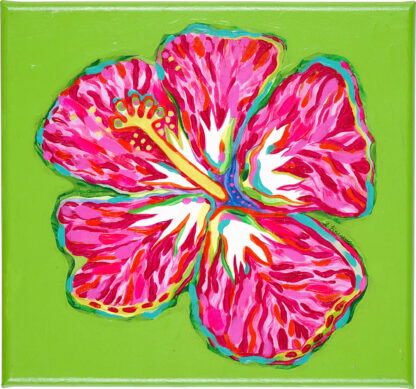 Hibiscus Canvas Print - Pink on Lime