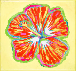 Hibiscus Canvas Print - Orange on Yellow