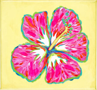 Hibiscus Canvas Print - Pink on Yellow