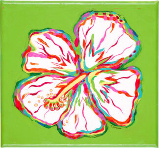 Hibiscus Canvas Print - White on Lime