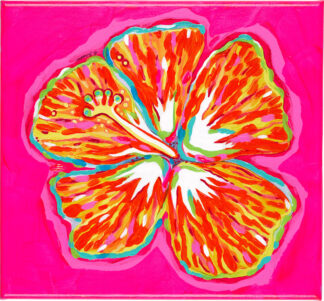 Hibiscus Canvas Print - Orange on Pink
