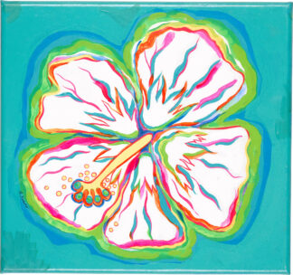 Hibiscus Canvas Print - White on Turquoise