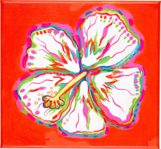 Hibiscus Canvas Print - White on Orange