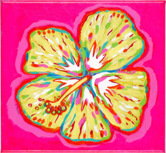 Hibiscus Canvas Print - Yellow on Pink