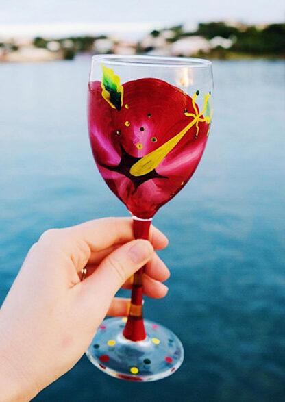 Beach themed wine glass