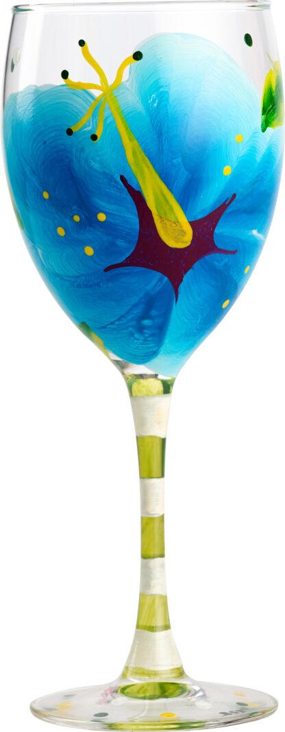 Blue Hibiscus Wine Glass