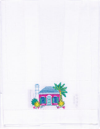 Bermuda Cottage Embroidered Table Runner