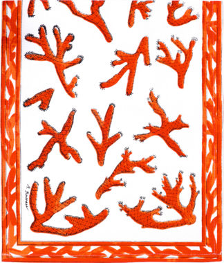 Orange Coral Table Runner