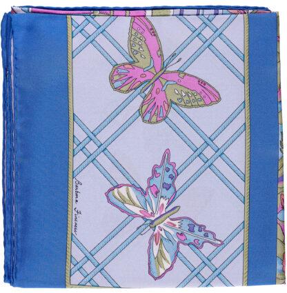 Blue Bermuda Butterfly Scarf in Italian Silk