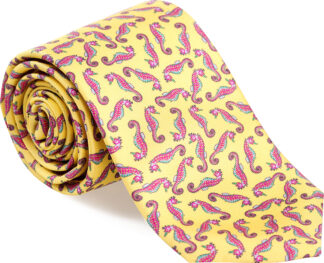 Men's Seahorse Tie in Yellow (Small Print)