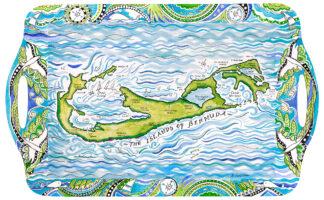 Bermuda Map Melamine Tray