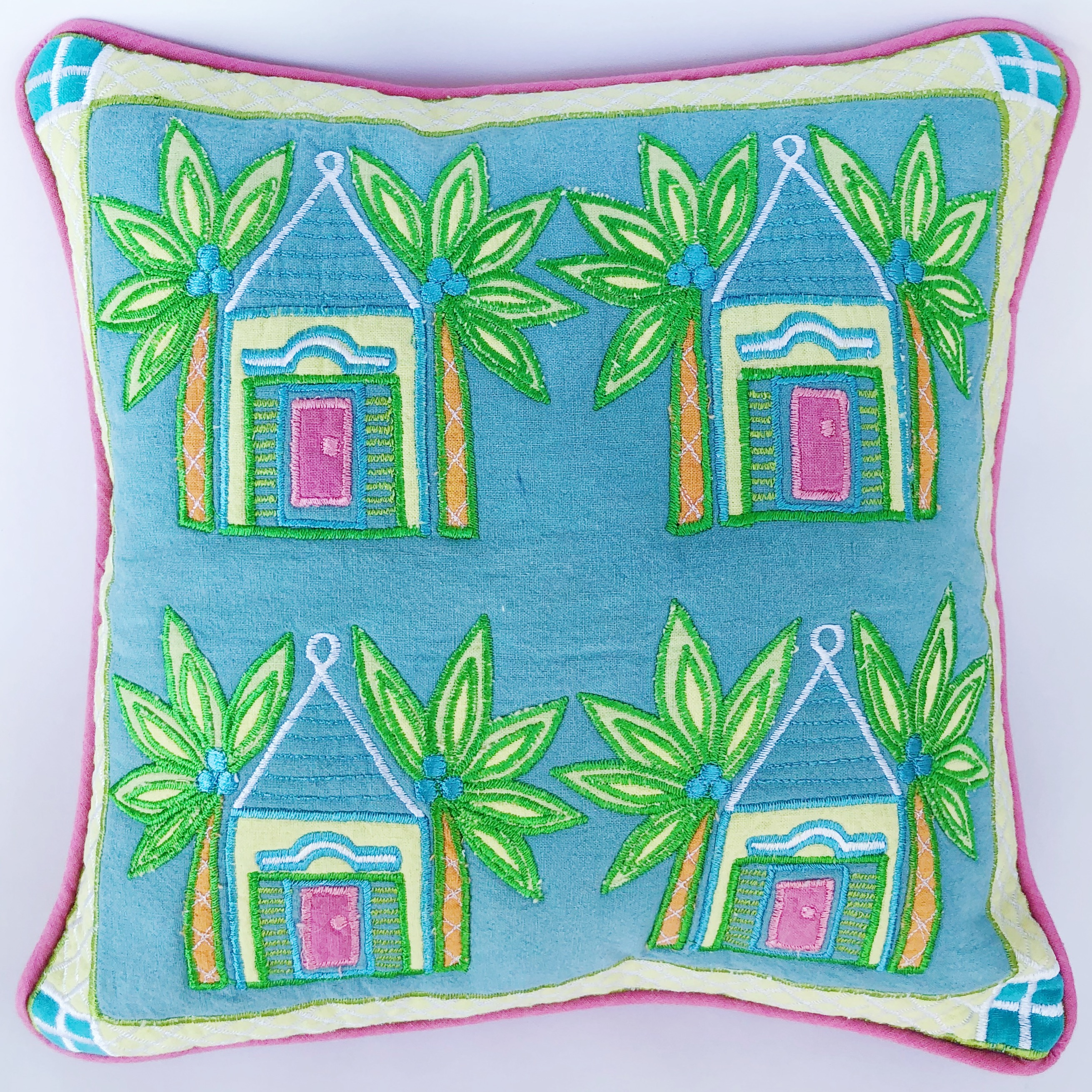 Multi Buttery Throw Pillow Blue Background Island Exports