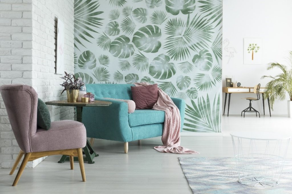 wall painted with fern leaves