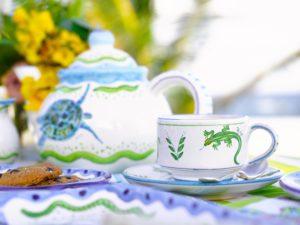 Handpainted Lizard Cup & Saucer