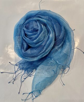 Fleurs Silk Scarf in Blue Stripes