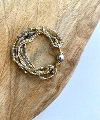 Beaded Gold Wrap Bracelet