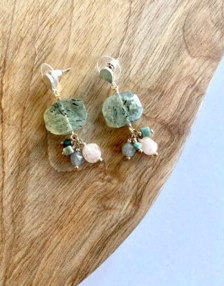 Green Marble Drop Earrings