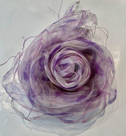 Fleurs Scarf in Purple & White