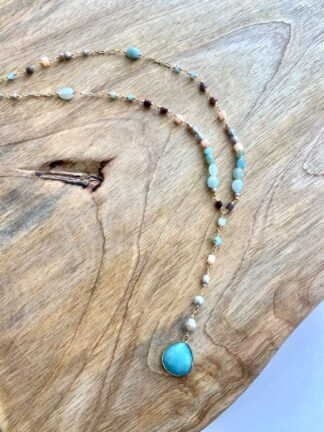 Turquoise Drop Beaded Necklace