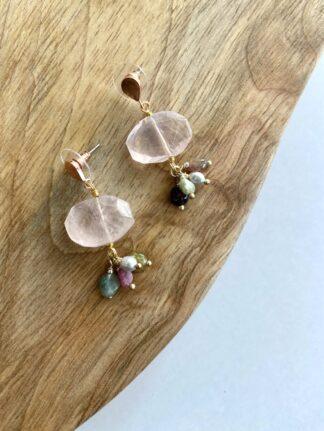 Pink Marble Drop Earrings