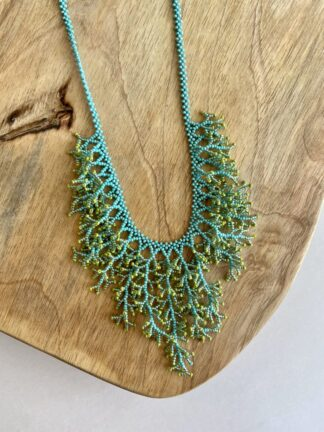 Beaded Coral Necklace in Lime & Turquoise