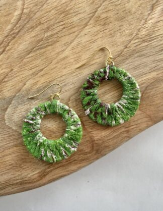 Kantha Wrapped Hoop Earrings in Green