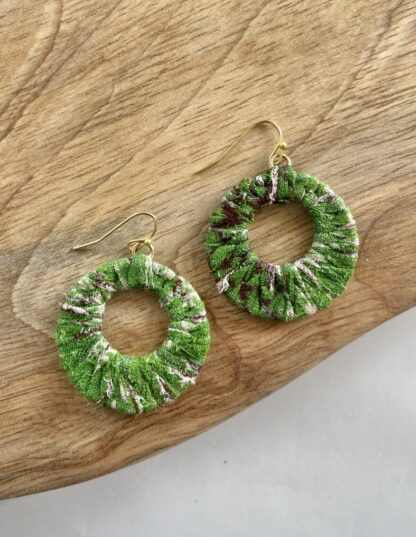 Kantha Wrapped Hoop Earrings in Green